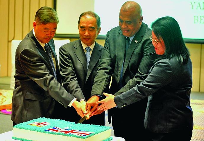 Fijian Ambassador to China Manasa Tagicakibau (third from left) during the Fiji Day celebration in Beijing, China.