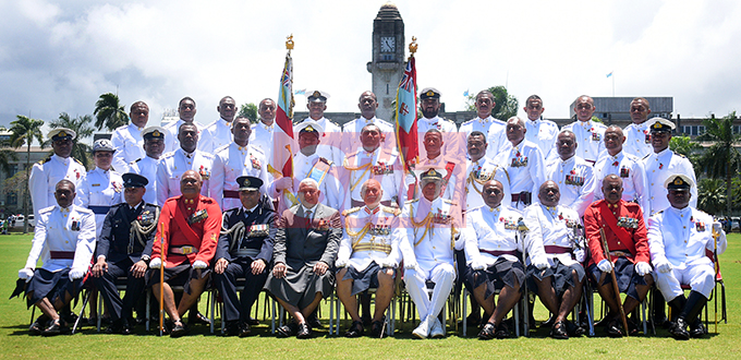 Police Commissioner Brigadier-General Sitiveni Qiliho, Prime Minister Voreqe Bainimarama, President Major General (ret'd) Jioji Konrote and RFMF Commander, Rear Admiral Viliame Naupoto and Fiji Day Parade Commander Lt. Col. Aseri Rokoura with fellow Parade commanders following  Fiji Day Parade at Albert park on October 10, 2019. Photo: Ronald Kumar.