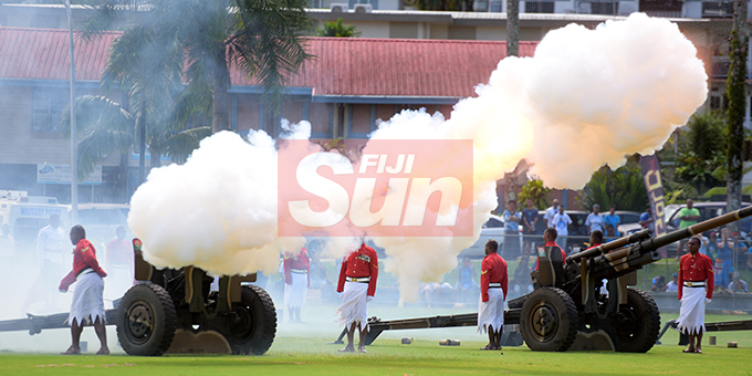 RFMF personnel during 21 gun salute for Fiji Day Parade at Albert Park on October 10, 2019. Photo: Ronald Kumar.