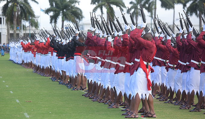 Navy, Army, Police and Correction officers personnel during 21 gun salute for Fiji Day Parade at Albert Park on October 10, 2019. Photo: Ronald Kumar.