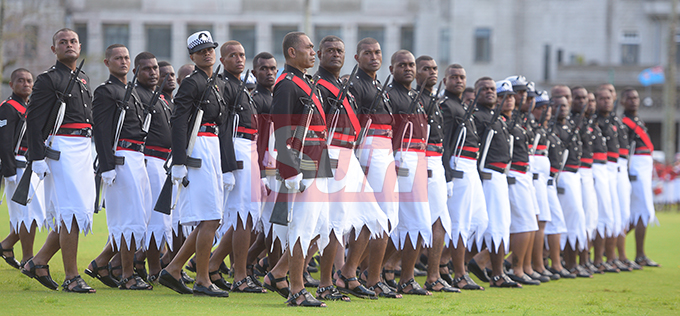 Fiji Police personnel during the Fiji Day Parade at Albert Park on October 10, 2019. Photo: Ronald Kumar.