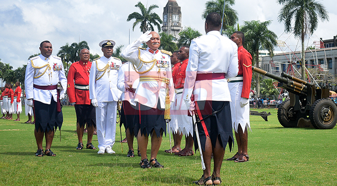 President Major General (ret'd) Jioji Konrote while inspecting the Fiji Day Parade along with RFMF Commander, Rear Admiral Viliame Naupoto at Albert Park on October 10, 2019. Photo: Ronald Kumar.