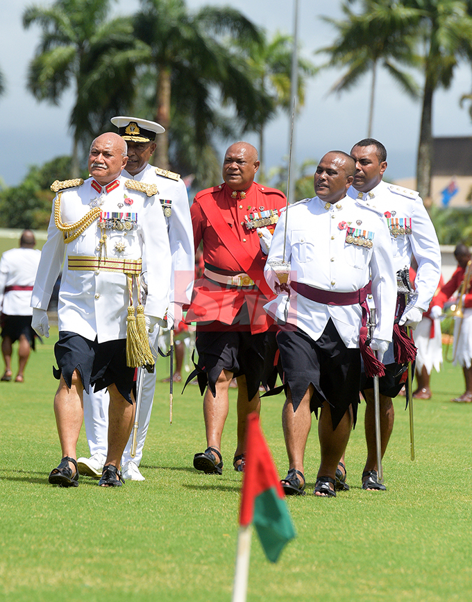 President Major General (ret'd) Jioji Konrote while inspecting the Fiji Day Parade along with RFMF Commander, Rear Admiral Viliame Naupoto and Parade Commander Lt. Col. Aseri Rokoura at Albert Park on October 10, 2019. Photo: Ronald Kumar.
