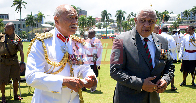 President Jioji Konrote (left) with Prime Minister Voreqe Bainimarama following the Fiji Day Parade at Albert park on October 10, 2019. Photo: Ronald Kumar.