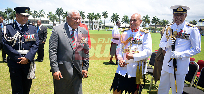 From left-Police Commissioner Brigadier-General Sitiveni Qiliho, Prime Minister Voreqe Bainimarama, President Major General (ret'd) Jioji Konrote and RFMF Commander, Rear Admiral Viliame Naupoto following  Fiji Day Parade at Albert park on October 10, 2019. Photo: Ronald Kumar.