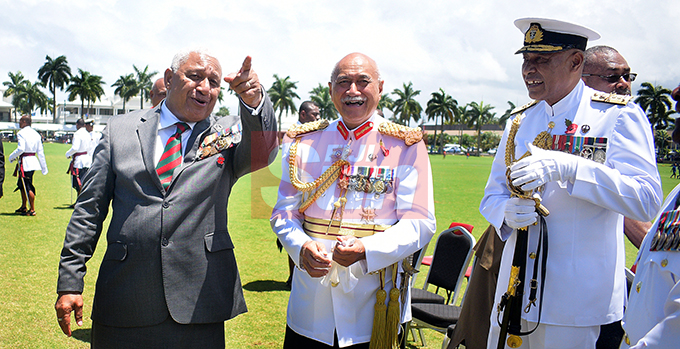 From left-Prime Minister Voreqe Bainimarama, President Major General (ret'd) Jioji Konrote and RFMF Commander, Rear Admiral Viliame Naupoto following  Fiji Day Parade at Albert park on October 10, 2019. Photo: Ronald Kumar.
