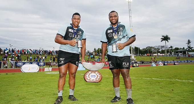 Fiji Airways Fijian Drua props (from left) Eroni Mawi and Luke Tagi after winning the 2018 National Rugby Championship at Churchill Park, Lautoka. Photo: NRC