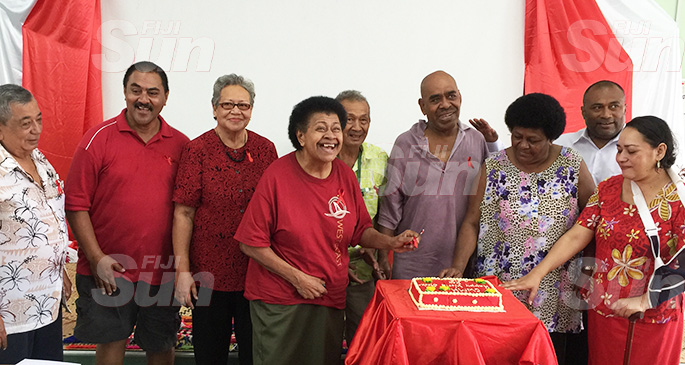 Stroke survivor Mary Lockington Vakalagilagi (third from left) with Minister for Health and Medical Services Dr Ifereimi Waqainabete (second from right) and others mark World Stroke Day celebration at the Colonial War Memorial Hospital on October 24, 2019. Photo: Ashna Kumar
