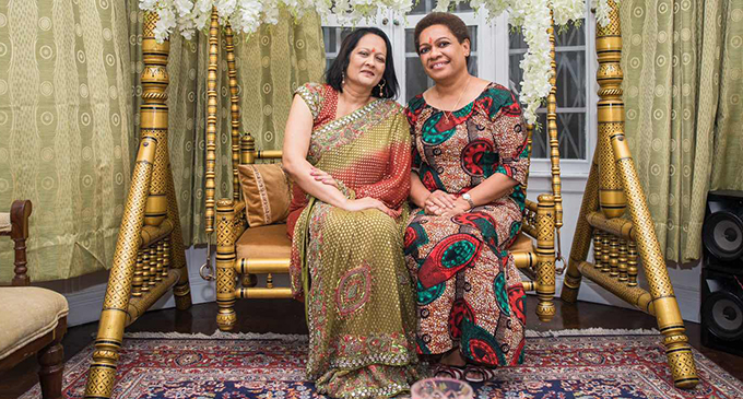 From left: Minister for Education, Heritage and Arts Rosy Akbar and the Minister for Women, Children and Poverty Alleviation Mereseini Vuniwaqa at the Diwali celebration at India House on October 18, 2019. Photo: High Commission Of India, Suva.