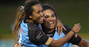 Josephine Maejiirs celebrates after their 28-0 victory in the Women's Pacific International Test Match against Papua New Guinea at Leichhardt Oval in Sydney, Australia on June 22, 2019