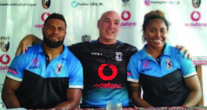 From left; Vodafone Fijian Bati head coach Brandon Costin (middle) and Josephine Maejiiire. (right