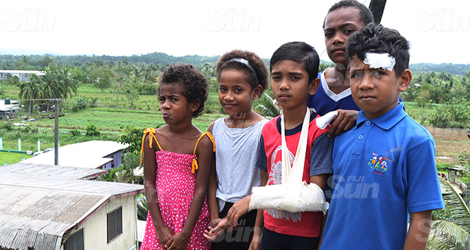 Survivors of the school bus accident at Lakena, Nausori, (from left) Esther Tuimata, Usenia Kini, Swaif Chiraag, Finau Bulivou and Cajetan Vuniwau. Photo: Kelera Sovasiga