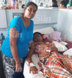 Subeen Ram with her daughter, Rishika Dutt, at the CWM Children's Ward. Photo: Shalveen Chand