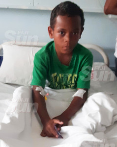 Edward George, 7, at the Colonial War Memorial Hospital Children's Ward in Suva on October 10, 2019. Photo: Shalveen Cha