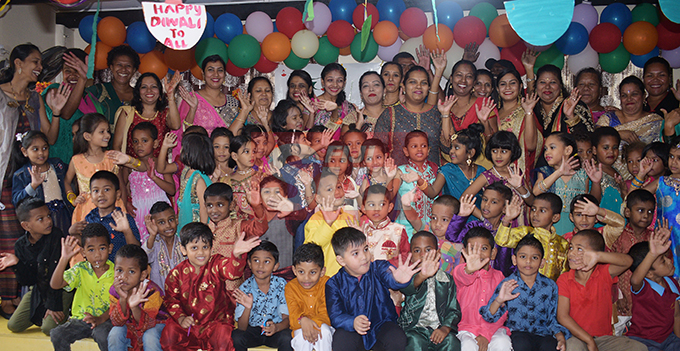 Students, Teachers and Parents of Lakshmi Narayan Kindergaten celebrated Diwali on October 25, 2019. Photo: Ronald Kumar.