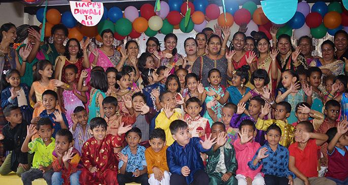 Students, Teachers and Parents of Lakshmi Narayan Kindergaten celebrated Diwali on October 25, 2019. Photo: Ronald Kumar.