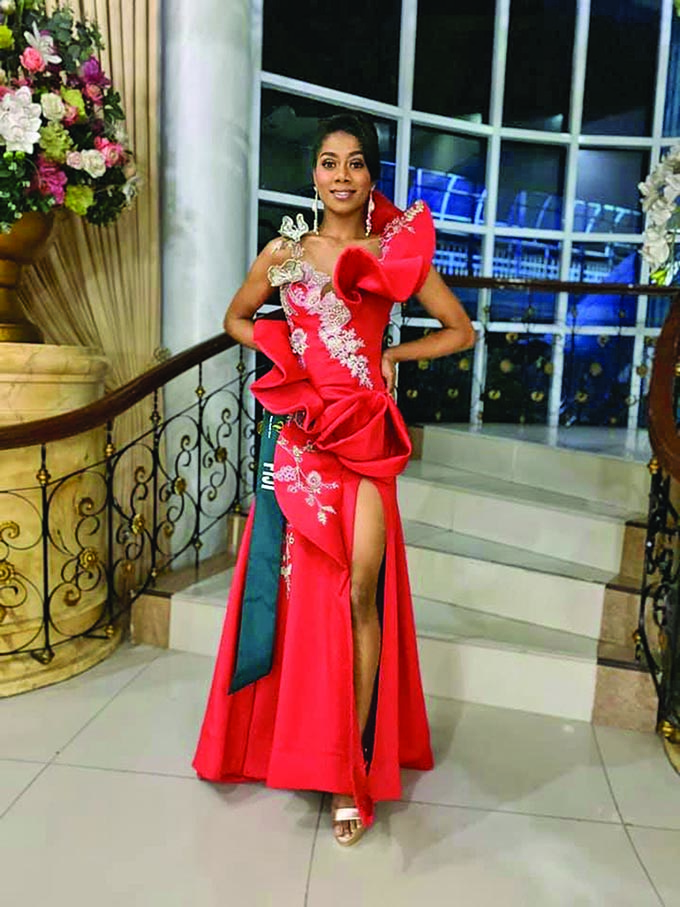 Miss Earth Fiji 2019, Miss Zaira Begg in her evening gown wear designed by Joey Ramirez at the Miss Earth 2019 pageant in Phillipines