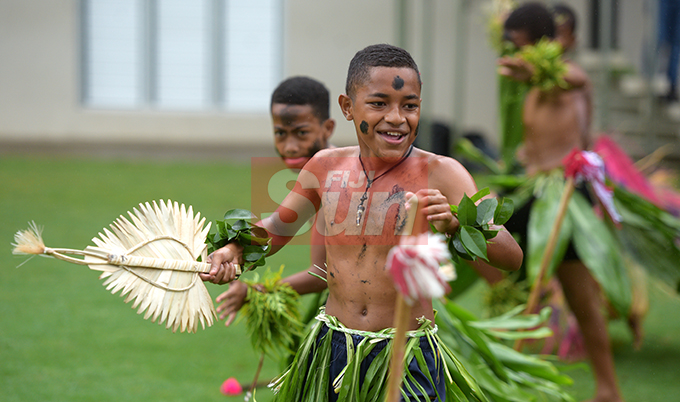 Petero Silivale, 13 with fellow students of Nabua Primary School during Nasinu Cluster Association Education Exhibition Day at Albert Park on October 25, 2019.Photo: Ronald Kumar.