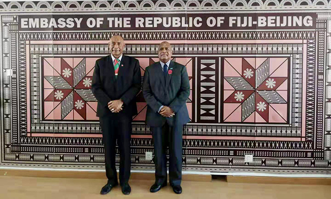 Republic of Fiji Military Forces Commander Rear Admiral Viliame Naupoto (left) and Fiji's Amabsasdor to China Manasa Tagicakibau at the Fijian Embassy in Beijing .  Photo: Fonua Talei