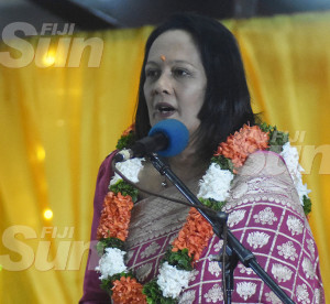 The Minister for Education, Heritage and Arts, Rosy Akbar during Diwali celebration at the Girmit Centre in Lautoka on October 24, 2019. Photo: Salote Qalubau