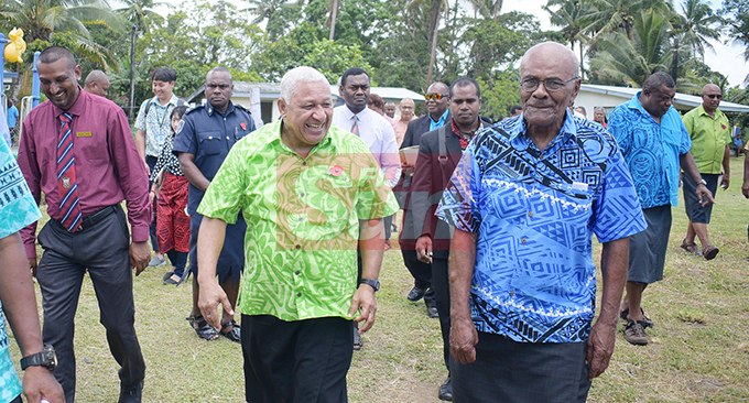 Prime Minister Voreqe Bainimarama with Cautata Village Mata-ni-vanua (spokes person) Penisoni Saukela (right) after opening a Cautata District School teachers quarters and Cautata Bakery on October 22, 2019. Photo: Ronald Kumar.