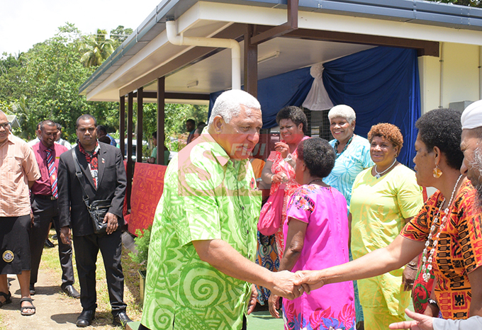 Prime Minister Voreqe Bainimarama with with women from Cautata Village after opening a Cautata District School teachers quarters and Cautata Bakery on October 22, 2019. Photo: Ronald Kumar.