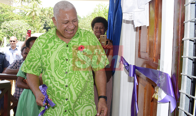 Prime Minister Voreqe Bainimarama while opening  Cautata District School teachers quarters and Cautata Bakery on October 22, 2019. Photo: Ronald Kumar.