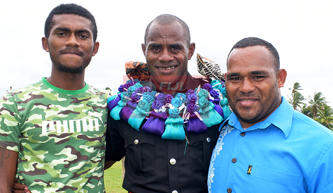 It was double celebration for former national sevens rep and current Nadroga rep, Joeli Lutumailagi as he celebrated his birthday and also pass out from Police Pass out parade at Nasova Police Academy on October 18, 2019. He is pictured with his cousin bothers, Epeli Tukawa (left) and Tevita Tuinawailevu.   Photo: Ronald Kumar.