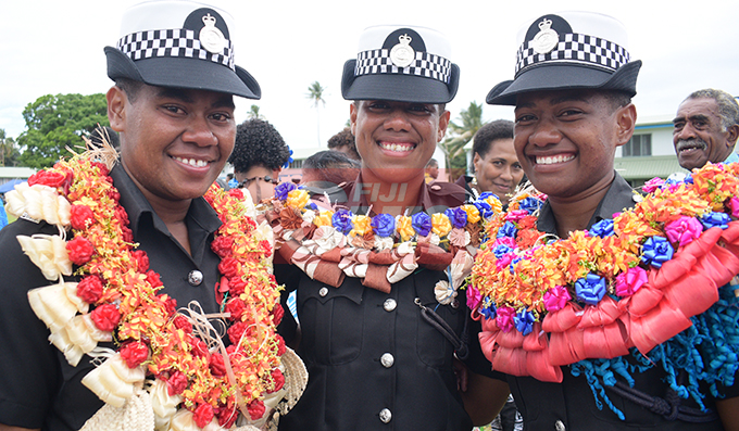 It was a dream come true for these three cousin sisters, (from left) Ilisapeci Tobeyaweni, Miliame Qasi and Alena Coginatoba as they successfully pass out from Police Pass-out parade at Nasova Police Academy on October 18, 2019. Photo: Ronald Kumar.
