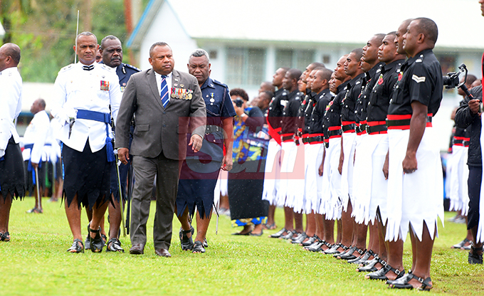 Minister for Defense and National Security Inia Seruiratu while inspecting 205 men and women on Parade during Police Pass out Parade in Suva on October 18, 2019. Photo: Ronald Kumar.