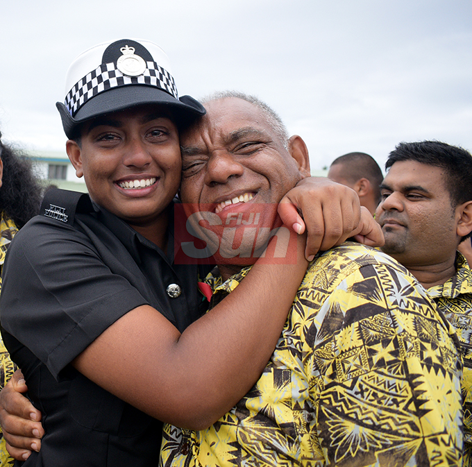 An emotional Shimona Jeet hugs her dad, Mahen Chand after Police Pass out Parade in Suva on October 18, 2019. Photo: Ronald Kumar.