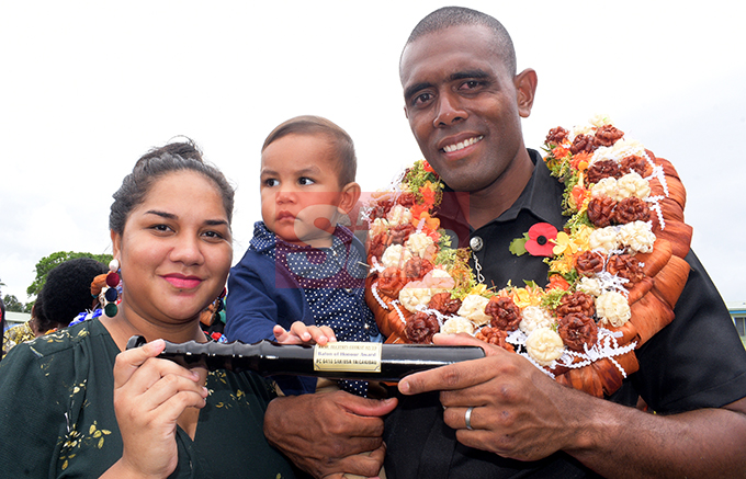 Police Pass out Parade baton of honor recipient, Sakiusa Tagicakibau with wife Ruth and son, Mosese Tagicakibau at Nasova Police Academy on October 18, 2019. Photo: Ronald Kumar.