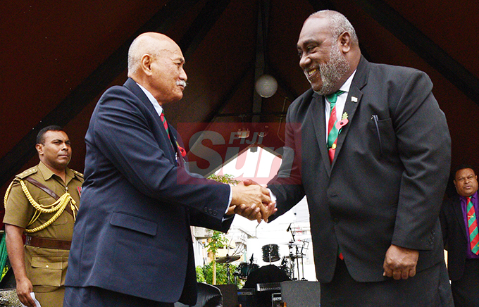 President Jioji Konrote and Acting Prime Minister and Minister for Fisheries Semi Koroilavesau following the launching of Poppy Appeal at Ratu Sukuna Park on October 4, 2019.Photo: Ronald Kumar.