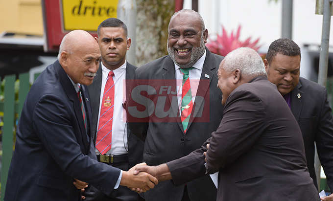 President Jioji Konrote (left) with Acting Prime Minister and Minister for Fisheries Semi Koroilavesau and Suva  Ex-serviceman association President, Jitoki Soko during the launching of Poppy Appeal at Ratu Sukuna Park on October 4, 2019.Photo: Ronald Kumar.