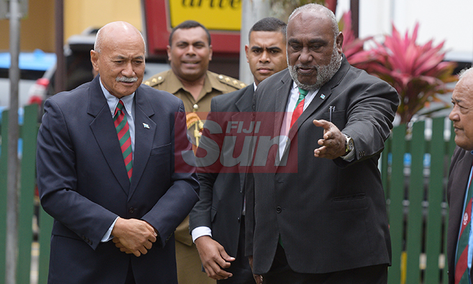 President Jioji Konrote (left) with Acting Prime Minister and Minister for Fisheries Semi Koroilavesau during the launching of Poppy Appeal at Ratu Sukuna Park on October 4, 2019.Photo: Ronald Kumar.