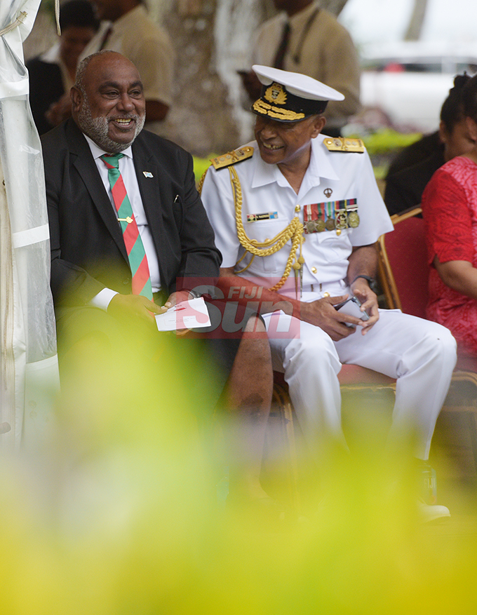 Acting Prime Minister and Minister for Fisheries Semi Koroilavesau (left) and Republic of Fiji Military Forces (RFMF) Commander Rear Admiral Viliame Naupoto during the launching of Poppy Appeal at Ratu Sukuna Park on October 4, 2019.Photo: Ronald Kumar.