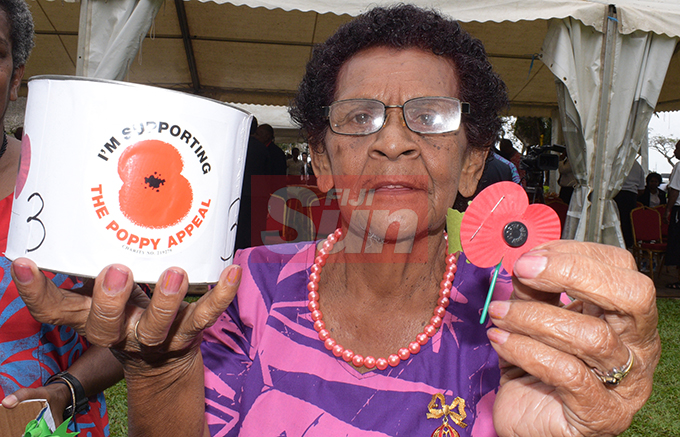 Ecela Vakacokaivalu 80, of ex-serviceman association  durimng the launching of Poppy Appeal by President Jioji Konrote and Acting Prime Minister and Minister for Fisheries Semi Koroilavesau at Ratu Sukuna Park on October 4, 2019.Photo: Ronald Kumar.