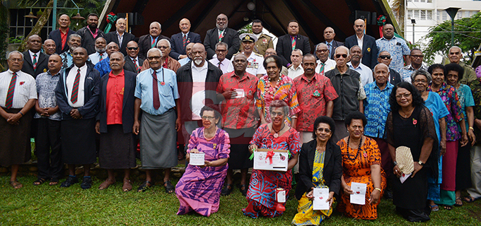 President Jioji Konrote and Acting Prime Minister and Minister for Fisheries Semi Koroilavesau with members supporters of Ex-serviceman during the launching of Poppy Appeal at Ratu Sukuna Park on October 4, 2019.Photo: Ronald Kumar.