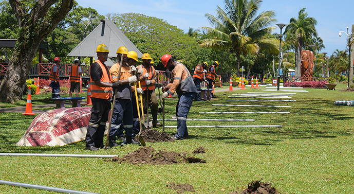 Work on marking the road widening process along Queens Elizabeth Drive has started as part of My Suva Park will also be used during the road construction. Photos: Ronald Kumar