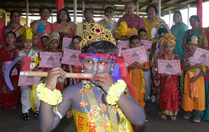 Keshav Padarath  (front-dressed as Lord Krishna) toghter with fellow students and teachers of Rishikul Primary School with their special Diwali attire on October 25, 2019. Photo: Ronald Kumar.