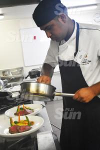 Shangri-La's Fijian Resort chef, Mohammed Shafil preparing his saffron beef tenderloin.Photo: Nicolette Chambers