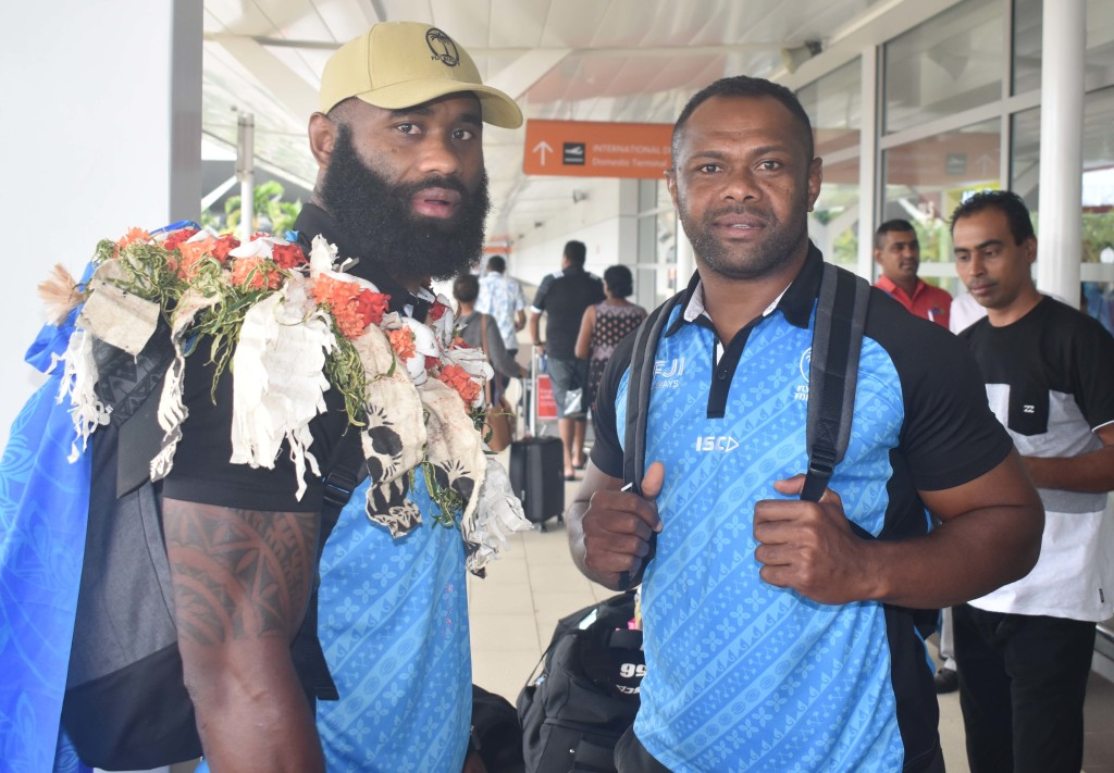 Fiji Airways Flying Fijians Semi Radradra and Vereniki Goneva arrive at the Nadi International Airport on October 15, 2019. Photo: Waisea Nasokia