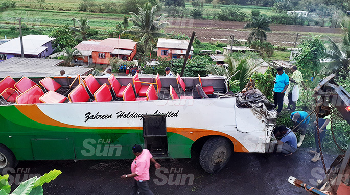 The bus involved in the horrific accident that claimed two lives. It was pulled out from Lakena Hill in Nausori on October 9; 2019. Photo: Ronald Kumar