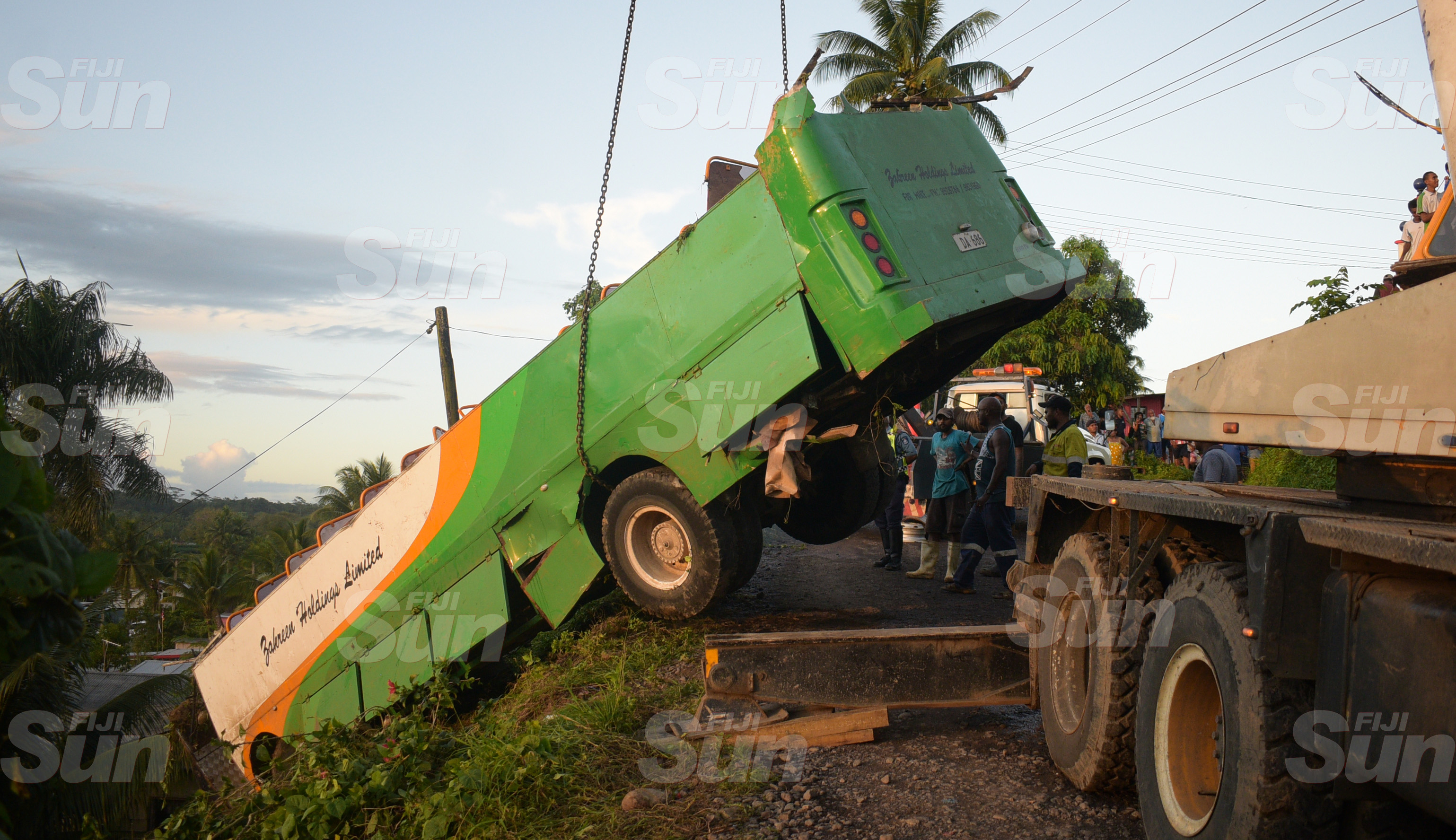 A school bus, after it was pulled out on Lakena Hill in Nausori on 9 October, 2019.Photo: Ronald Kumar.