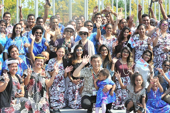 Fijians at the Yanqing District in Beijing, China, celebrating Fiji's 49th year of independence.