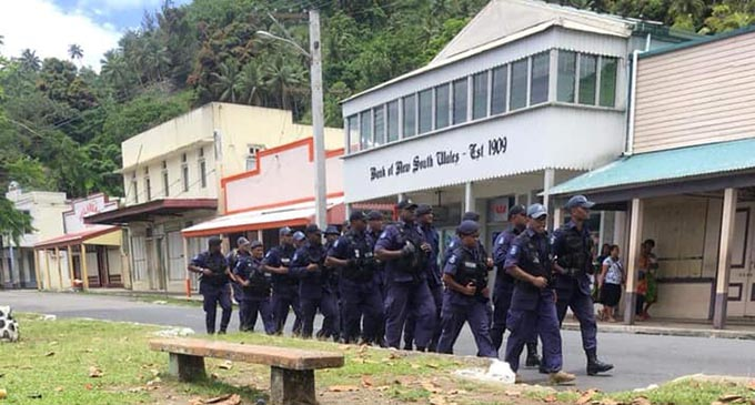 Police Special Response Team (SRU) is now in Levuka providing back-up. Photo: Joanne Bole