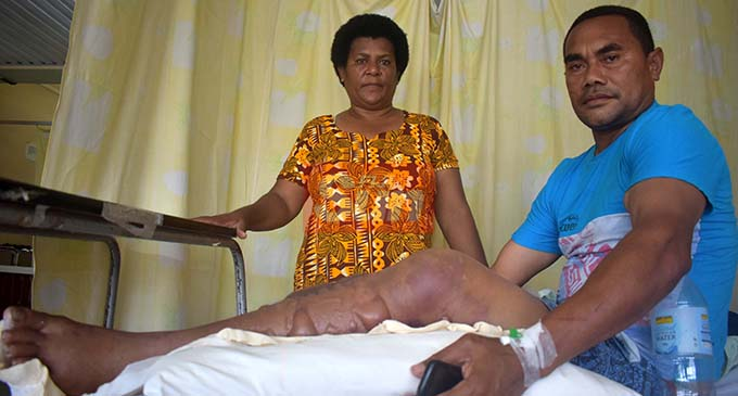Rupeni Siganisucu with wife Laite Vurabere on November 28, 2019, at the Lautoka Hospital. Photo: Salote Qalubau