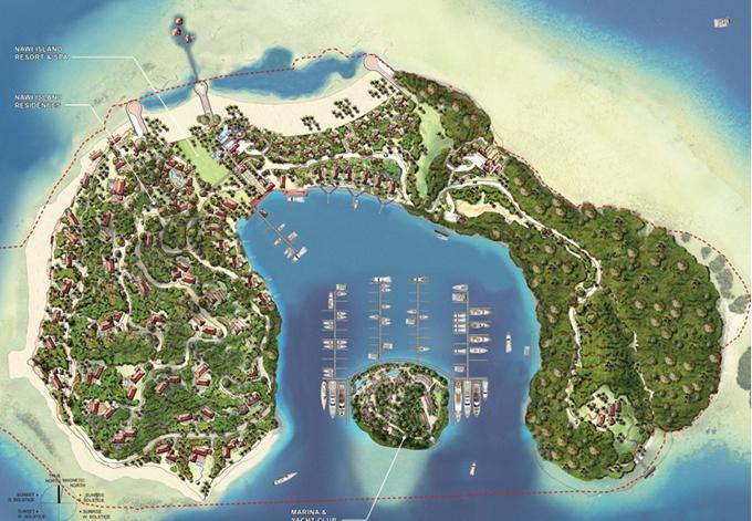 An artist's impression of Nawi Island development project.