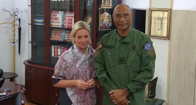 The Commander RFMF Rear Admiral Viliame Naupoto with UNAMI Head of Mission and Special Representative of the Secretary General, Jeanine Hennis-Plasschaert in UNAMI Headquarters, Baghdad, Iraq on November 25, 2019