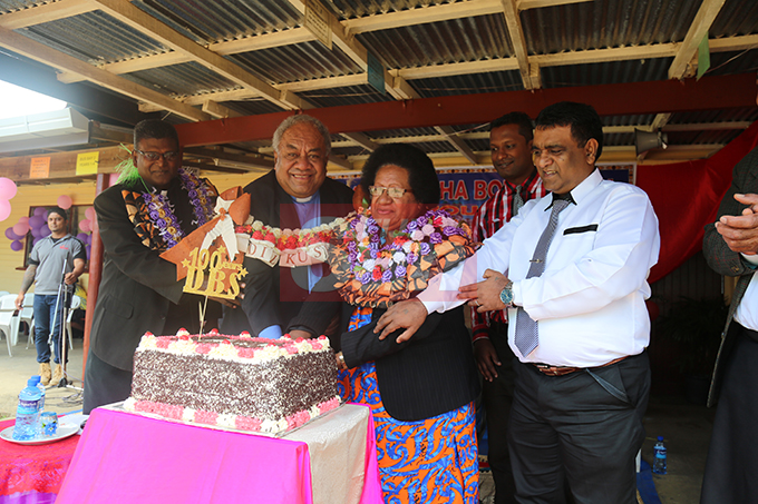 (From left) School chairman Rev Dr Anil Reuben, Rev Epineri Vakadewavosa, Mrs Vakadewavosa and Headteacher Rishi Chand cutting of the centenial cake on November 1, 2019. Photo: Kelera Sovasiga
